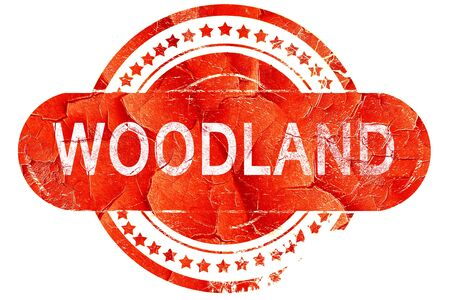 woodland: woodland, red grunge rubber stamp on white background Stock Photo