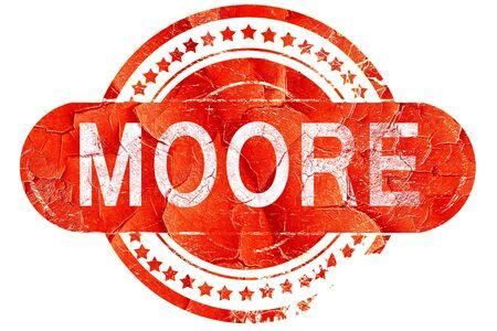 ムーア、白い背景に赤いグランジ ゴム印 写真素材