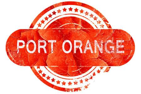 port: port orange, red grunge rubber stamp on white background