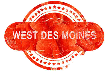 des: west des moines, red grunge rubber stamp on white background