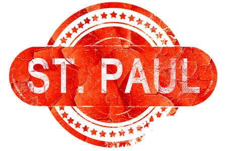 paul: st. paul, red grunge rubber stamp on white background