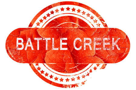 battle: battle creek, red grunge rubber stamp on white background