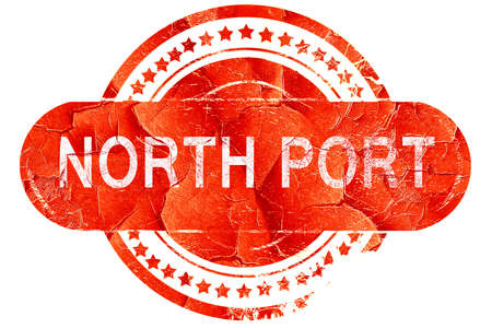 port: north port, red grunge rubber stamp on white background