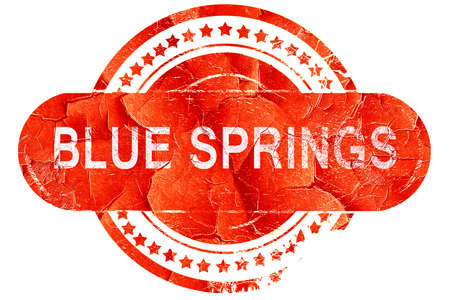 springs: blue springs, red grunge rubber stamp on white background