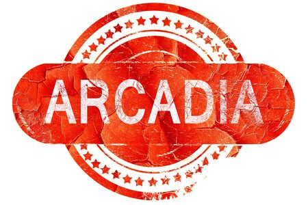 and arcadia: arcadia, red grunge rubber stamp on white background