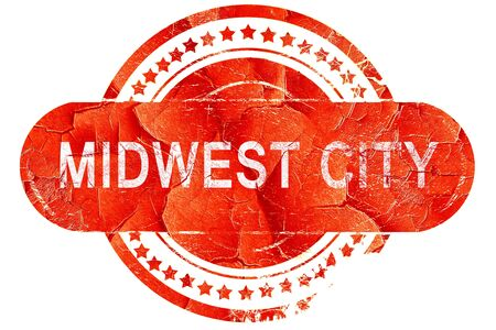 midwest: midwest city, red grunge rubber stamp on white background