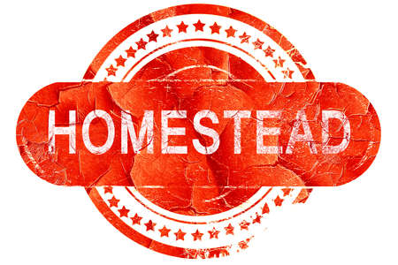 homestead: homestead, red grunge rubber stamp on white background