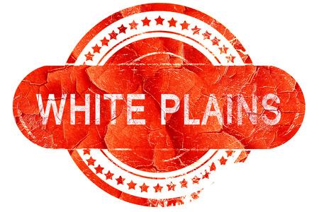 plains: white plains, red grunge rubber stamp on white background