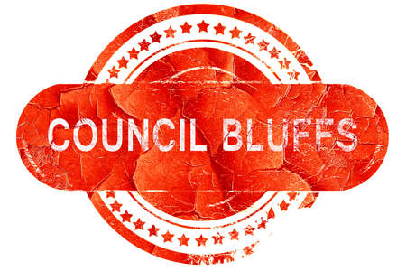 council: council bluffs, red grunge rubber stamp on white background