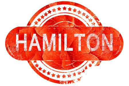 hamilton: hamilton, red grunge rubber stamp on white background