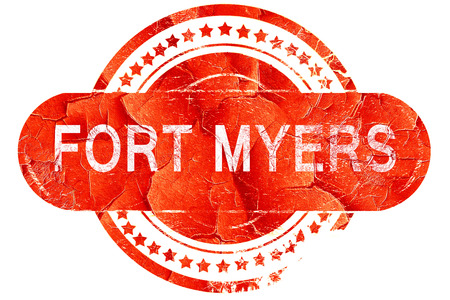 myers: fort myers, red grunge rubber stamp on white background