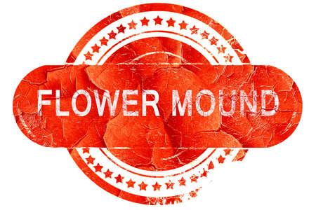 mound: flower mound, red grunge rubber stamp on white background