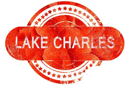 charles: lake charles, red grunge rubber stamp on white background