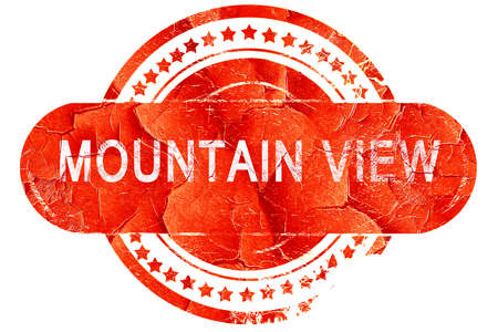 mountain view: mountain view, red grunge rubber stamp on white background