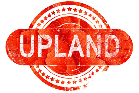 upland, red grunge rubber stamp on white background