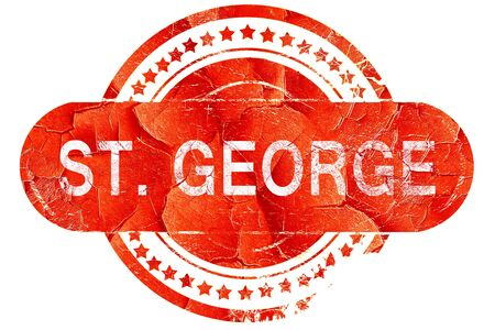 st. george, red grunge rubber stamp on white background