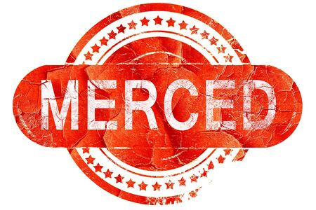 merced: merced, red grunge rubber stamp on white background