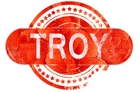 troy: troy, red grunge rubber stamp on white background Stock Photo