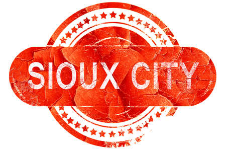 sioux: sioux city, red grunge rubber stamp on white background