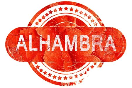 alhambra: alhambra, red grunge rubber stamp on white background