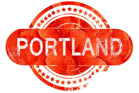 portland: portland, red grunge rubber stamp on white background