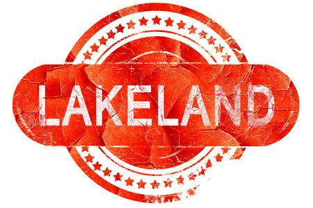 lakeland: lakeland, red grunge rubber stamp on white background