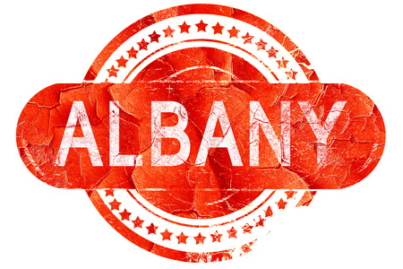 albany: albany, red grunge rubber stamp on white background Stock Photo