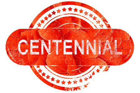 centennial: centennial, red grunge rubber stamp on white background