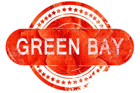 bay: green bay, red grunge rubber stamp on white background