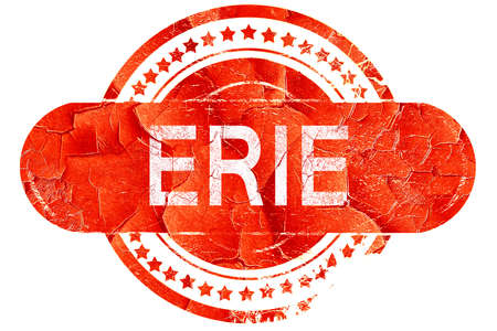 erie, red grunge rubber stamp on white background