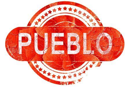 pueblo, red grunge rubber stamp on white background Stock Photo