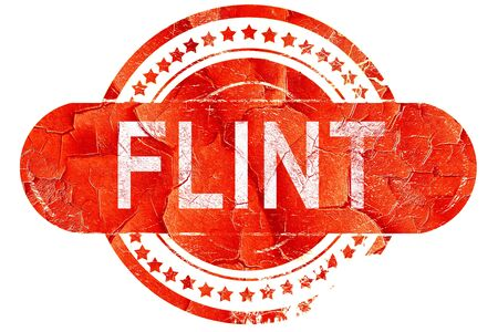 flint: flint, red grunge rubber stamp on white background Stock Photo