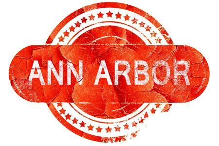arbor: ann arbor, red grunge rubber stamp on white background