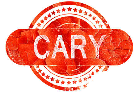 cary: cary, red grunge rubber stamp on white background Stock Photo