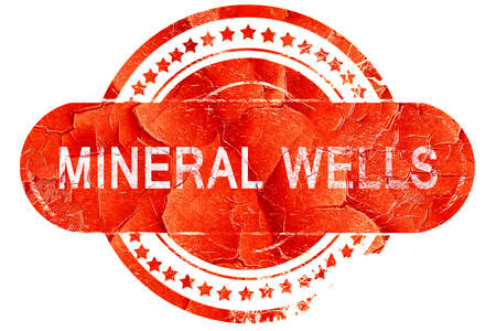 mineral: mineral wells, red grunge rubber stamp on white background