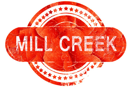 creek: mill creek, red grunge rubber stamp on white background