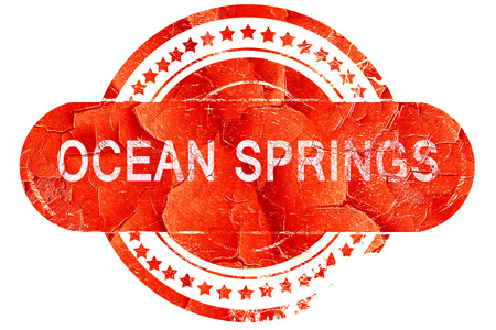 springs: ocean springs, red grunge rubber stamp on white background