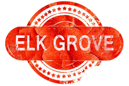 grove: elk grove, red grunge rubber stamp on white background Stock Photo