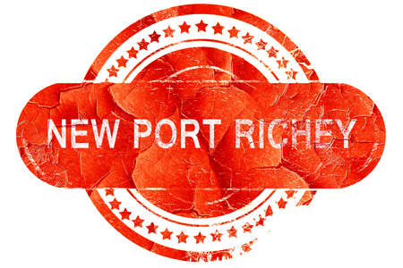 port: new port richey, red grunge rubber stamp on white background