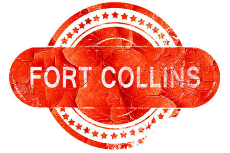 collins: fort collins, red grunge rubber stamp on white background