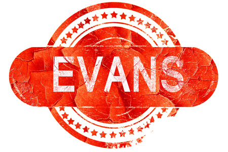 evans: evans, red grunge rubber stamp on white background Stock Photo