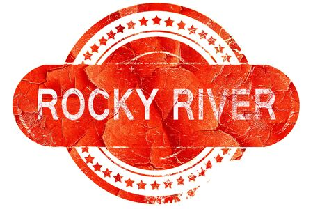 rocky: rocky river, red grunge rubber stamp on white background
