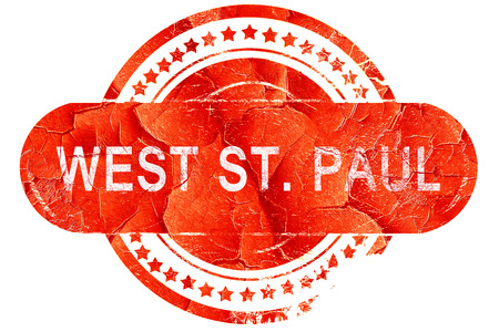paul: west st. paul, red grunge rubber stamp on white background