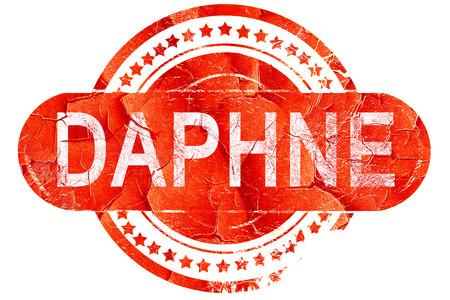 dafne: daphne, rosso grunge timbro di gomma su sfondo bianco
