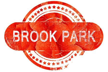 brook: brook park, red grunge rubber stamp on white background