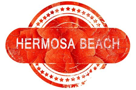hermosa beach: hermosa beach, red grunge rubber stamp on white background Stock Photo