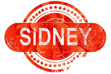 sidney: sidney, red grunge rubber stamp on white background