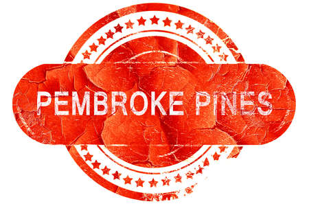pembroke: pembroke pines, red grunge rubber stamp on white background