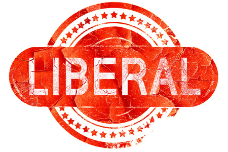 liberal: liberal, red grunge rubber stamp on white background