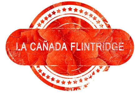 canada stamp: la canada flintridge, red grunge rubber stamp on white background Stock Photo